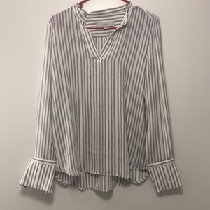 Ann Taylor Loft Black & White Striped Blouse